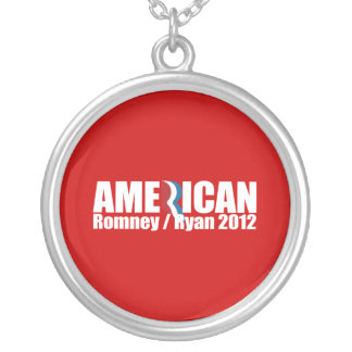 PRO-ROMNEY - ROMNEY RYAN ARE AMERICAN -- .png Round Pendant Necklace