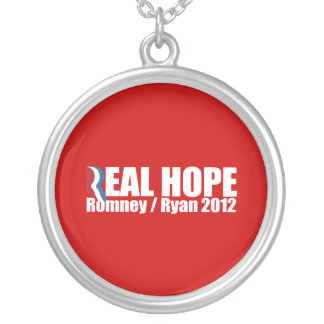 PRO-ROMNEY - ROMNEY RYAN ARE REAL HOPE -- .png Round Pendant Necklace