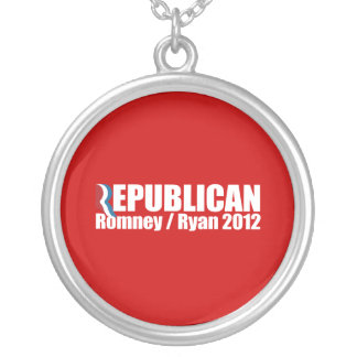 PRO-ROMNEY - ROMNEY RYAN ARE REPUBLICAN -- .png Round Pendant Necklace