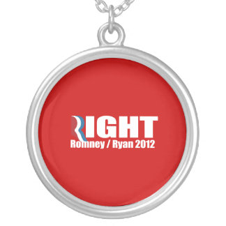 PRO-ROMNEY - ROMNEY RYAN ARE RIGHT -- .png Round Pendant Necklace