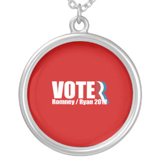 PRO-ROMNEY - ROMNEY RYAN ARE VOTERS -- .png Round Pendant Necklace