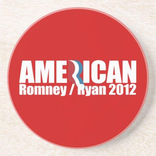 PRO-ROMNEY - ROMNEY RYAN SON AMERICANOS -- .png Posavasos Diseño