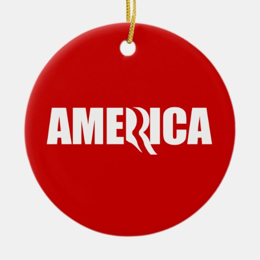 PRO-ROMNEY - ROMNEY STANDS FOR AMERICA - -- .png Double-Sided Ceramic Round Christmas Ornament