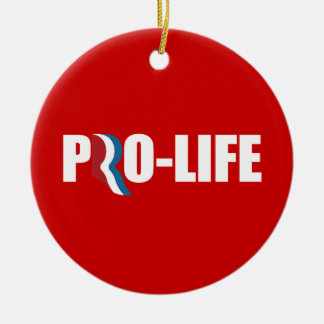 PRO-ROMNEY - ROMNEY STANDS FOR PRO-LIFE -- .png Double-Sided Ceramic Round Christmas Ornament