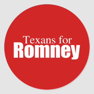 PRO-ROMNEY - TEXANS FOR ROMNEY -- .png Classic Round Sticker