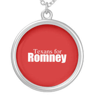PRO-ROMNEY - TEXANS FOR ROMNEY -- .png Round Pendant Necklace