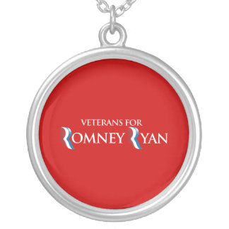 PRO-ROMNEY - VETERANS FOR ROMNEY RYAN -- .png Round Pendant Necklace