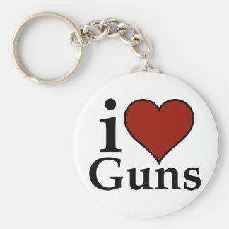 Pro Second Amendment: I Heart Guns Basic Round Button Keychain