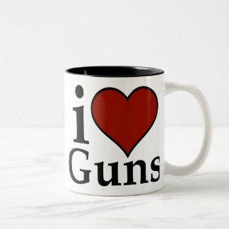 Pro Second Amendment: I Heart Guns Two-Tone Coffee Mug