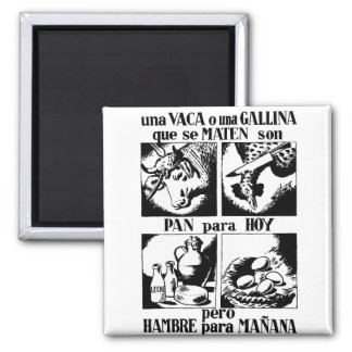Pro Vegetarian Livestock Advertising 2 Inch Square Magnet