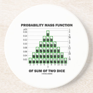 Probability Mass Function Of Sum Of Two Dice Drink Coaster
