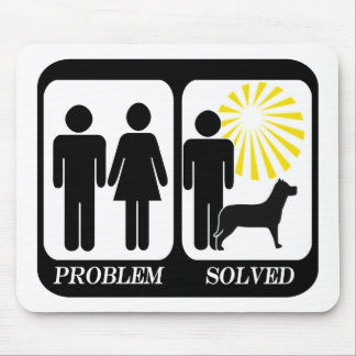 Problem solved dog owner man mouse pad