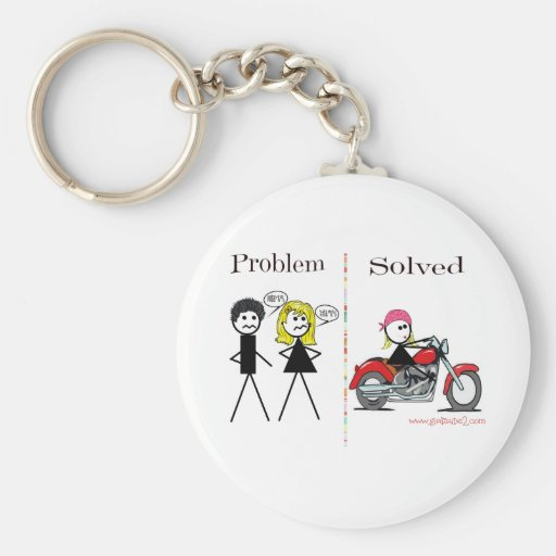 Problem Solved (Girl Only)-Keychain Basic Round Button Keychain