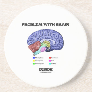 Problem With Brain Inside (Brain Anatomy) Sandstone Coaster