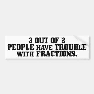 Problema con las fracciones pegatina de parachoque
