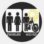 Problema de la moto solucionado pegatinas redondas