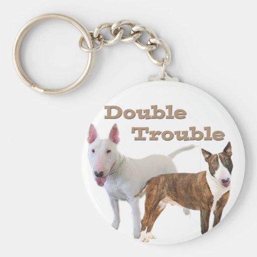 Problema doble de bull terrier llavero redondo tipo pin