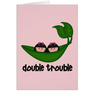 Problema doble Peapod de los chicas gemelos Tarjeta De Felicitación