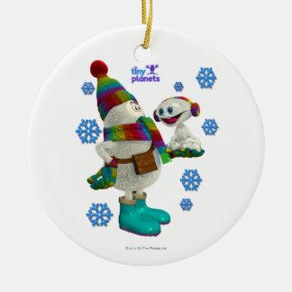 Problema minúsculo de la nieve de los planetas adorno navideño redondo de cerámica