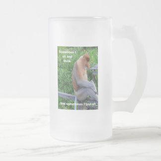 Proboscis Monkey - Maybe Thinking Frosted Glass Beer Mug