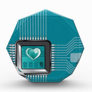 Procesador del ordenador con un corazón y un