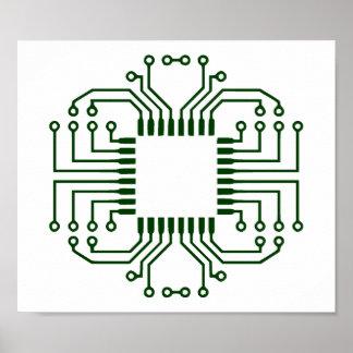 Procesador eléctrico de la placa de circuito póster
