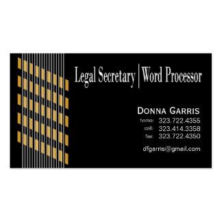 Procesador roscado de la secretaria legal textos d plantilla de tarjeta personal
