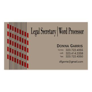 Procesador roscado de la secretaria legal textos d tarjeta de visita