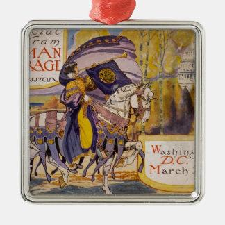 Procesión 1913 del sufragio adorno navideño cuadrado de metal