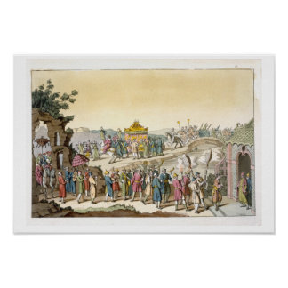 Procesión a un boda tradicional del Taoist, illust Poster