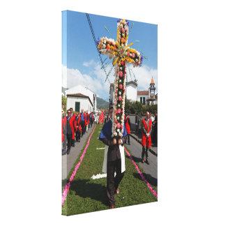 Procesión católica en las Azores Impresión En Lona Estirada