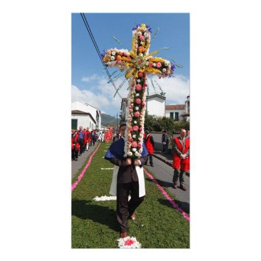 Procesión católica en las Azores Tarjeta Personal