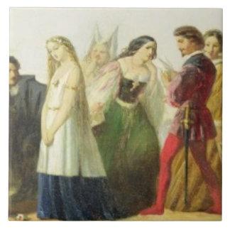 Procesión de caracteres de Shakespeare (aceite enc Azulejo Cuadrado Grande