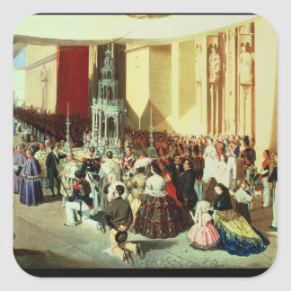 Procesión de Corpus Christi en Sevilla Pegatina Cuadrada