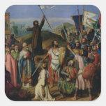 Procesión de cruzados alrededor de Jerusalén Pegatina Cuadrada