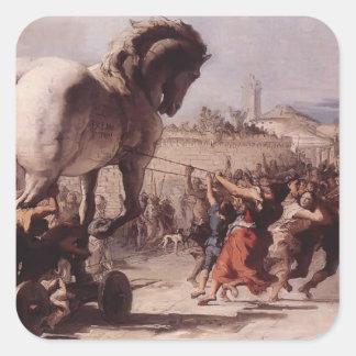 Procesión de Juan Tiepolo- del Trojan Horse Pegatina Cuadrada