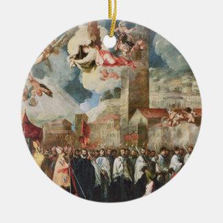 Procesión de las reliquias del Brescian santo Bish Adorno Redondo De Cerámica