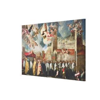 Procesión de las reliquias del Brescian santo Bish Impresiones En Lona