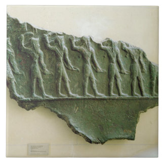 Procesión de los guerreros de Elamite, Susa, Irán, Azulejo Cuadrado Grande
