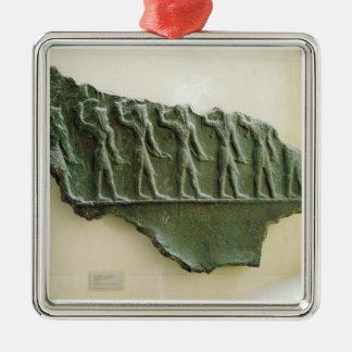 Procesión de los guerreros de Elamite, Susa, Irán, Adorno Cuadrado Plateado