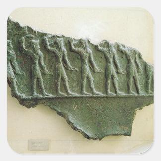 Procesión de los guerreros de Elamite, Susa, Irán, Pegatina Cuadrada