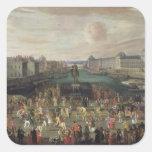 Procesión de Louis XIV a través del Pont-Neuf Calcomania Cuadrada Personalizada
