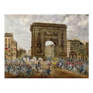 Procesión de papa Pío VII en París Postal