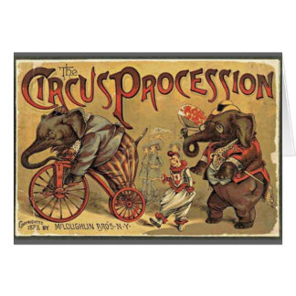 Procesión del circo, 1888, vintage tarjeta de felicitación