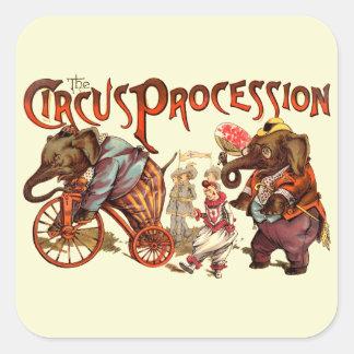 Procesión del circo calcomanías cuadradases