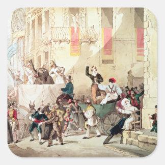 Procesión del circo en Italia, 1830 Calcomania Cuadradas Personalizadas