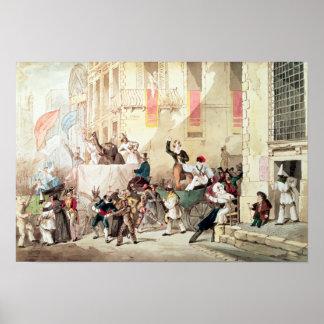 Procesión del circo en Italia, 1830 Póster