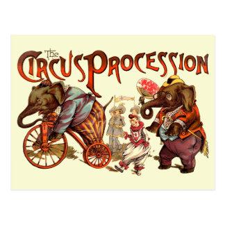 Procesión del circo tarjeta postal
