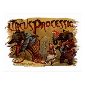 Procesión del circo tarjetas postales
