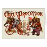 Procesión del circo tarjetas